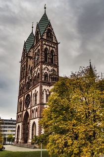 Herz-Jesu-Kirche twin towered church by Freiburg station von Bruce Parker