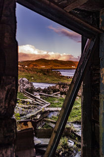 View through collapsed doorway of abandoned farmhouse ruins by Struan Jetty by Bruce Parker