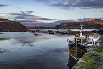 Fishing boat in Portree Harbour, in front of Ben Tianavaig by Bruce Parker