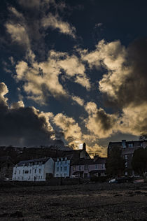 Sunset reflecting off clouds above Portree, March 2017 by Bruce Parker