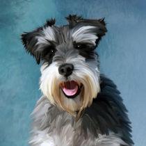 Miniature Schnauzer Dog Water Color Art Painting von Sapan Patel