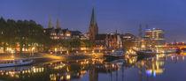 Schlachte mit Weser, Martinikirchbei Abenddaemmerung, Bremen von Torsten Krüger