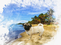 Pug on beach watercolor art painting by Sapan Patel