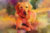 Golden Retriever Dog Water color Art von Sapan Patel