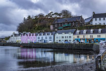 Row of coloured houses along the quay at Portree Harbour by Bruce Parker