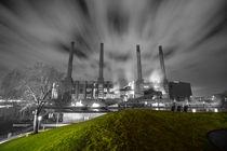 Kraftwerk Wolfsburg in Schwarz-Weiß-Grün von Jens L. Heinrich