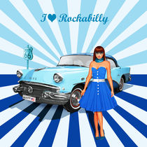 I love Rockabilly Variante 2 in Blau - I love Rockabilly variant 2 in blue von Monika Juengling