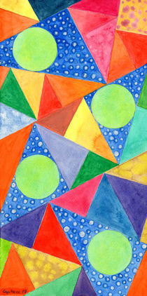 Lime Green Circles within a Cool Triangles Pattern  von Heidi  Capitaine