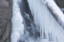 Kleiner Eiswasserfall mit Baumstamm von Rolf Meier