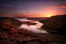 Sunset at Three Cliffs Bay Gower by Leighton Collins