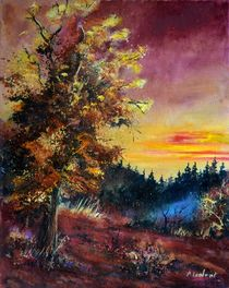 oak at sunset by pol ledent