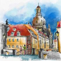 Dresden, Blick über die Münzgasse zur Frauenkirche by Hartmut Buse