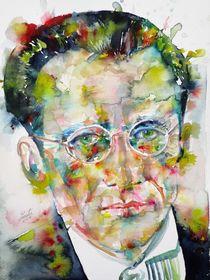 ERWIN SCHRODINGER - watercolor portrait by lautir