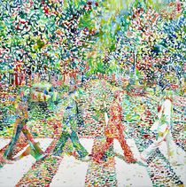 THE BEATLES - ABBEY ROAD - watercolor painting by lautir