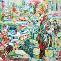 THE BEATLES ROOFTOP CONCERT - watercolor painting by lautir