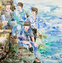 THE BEATLES AT THE SEA - watercolor portrait by lautir