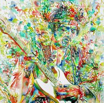 JIMI HENDRIX - watercolor portrait by lautir