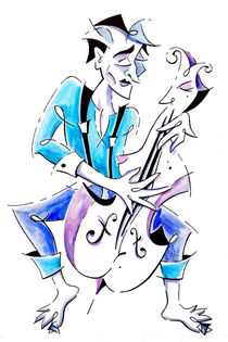 Street Musician Playing Violoncello Illustration von nacasona