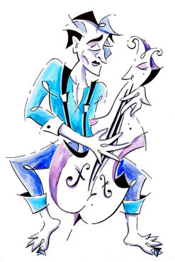 Street-musician-playing-violoncello-illustration