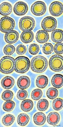 Yellow and Red Sunshine Pattern  by Heidi  Capitaine