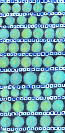 Rows of Blue Iridescent Circles Pattern by Heidi  Capitaine