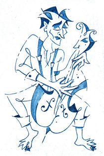 Cellist Music Player- Sketchbook Blue Pencil Drawing by nacasona