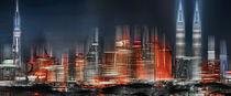 Skyline von Kuala Lumpur in der Nacht, Malaysia, digital verfremdet.  by Horst  Tomaszewski