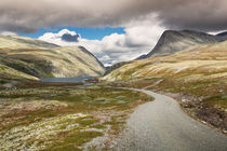 Rondane national park with road and mountains by Bastian Linder