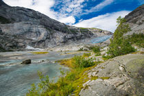 Blue glacier with lake Nigardsbreen in Norway by Bastian Linder