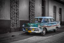 Old car in Cuba, Havanna, green colourized von Bastian Linder
