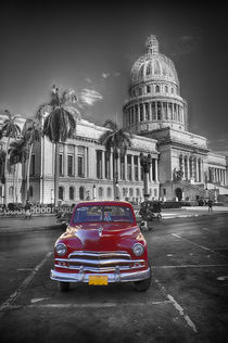 Red old car at Capitol, Havanna Cuba by Bastian Linder