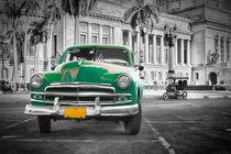 Green old car at Capitol, Havanna Cuba by Bastian Linder