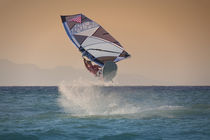 Windsurfing jump in Rhodes, Greece by Bastian Linder