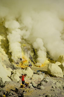 Workers mining sulfur inside volcano Ijen by Bastian Linder