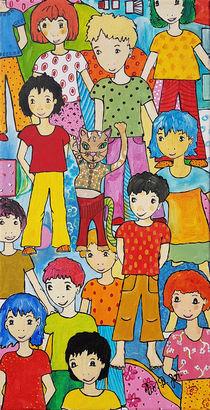 Kinder mit Katzenfigur von Viola Joisten
