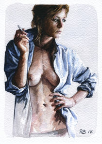 Nude study of a woman with cigarette von Rene Bui