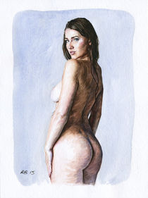 Nude study of a woman standing back von Rene Bui