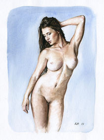 Nude study of a woman standing by Rene Bui