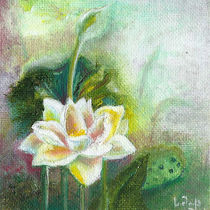 Water Lilies. Original Painting. Beautiful Wild Flower von mikart