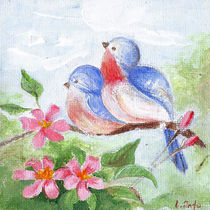 Cutest Birds. Floral Spring Art von mikart