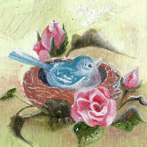 Bird In The Nest. Pink Rose von mikart
