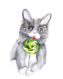 Cat With Lollipop by mikart