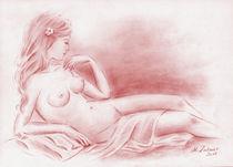 Träumende Jungfrau - erotische Zeichnung von Marita Zacharias