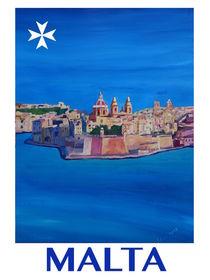 Retro Vintage Poster of Malta Valletta View of City of Knights I by M.  Bleichner