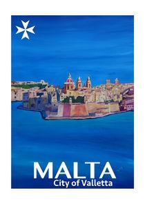 Retro Poster von Malta Valletta Ansicht von Stadt der Ritter by M.  Bleichner