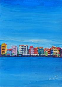 Willemstad Curacao Waterfront in Blue von M.  Bleichner