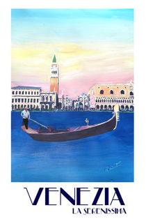 Venedig Italien Gondel am Canal Grande mit San Marco - Retro Poster von M.  Bleichner