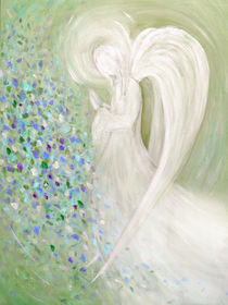 Engelmalerei - weißer Engel mit grünem Hintergrund von Chris Berger