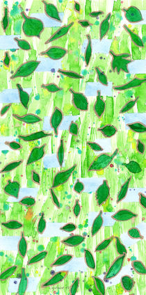 Modern Fresh Leaves Pattern in High Format  by Heidi  Capitaine