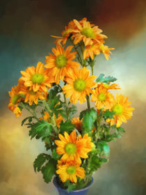 Bouquet Of Orange Chrysanthemums by Elena Oglezneva